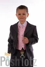 Boys Suits, Pageboy, Formal prom suit 5pc Slate Grey Pinstripe, Pink 18-24m-14y