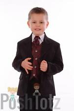 Boys Suits, Wedding, Pageboy, Formal, 5 Piece Wine Paisley Suit, 0-3mths-15yr