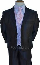 Boys Suits 5-Pce Slate Grey Pinstripe Suit With Pink Waistcoat Wedding Formal
