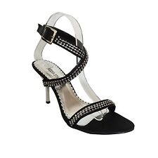 WOMENS LADIES HIGH HEEL STILETTO OPEN TOE ANKLE STRAP SANDALS BLK SHOES SIZE 3-8