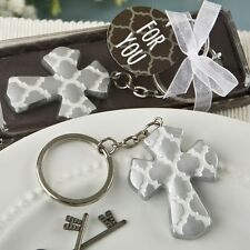 Silver Cross key chain with a Hampton link design from PartyFairyBox / FC-8981
