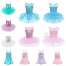 Kids Girls Ballet Dance Dress Sequined Party Tutu Leotards Dancewear Costumes
