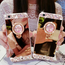 Luxury Bling Diamond Ring Holder Stand Mirror Phone Case Cover For Various Phone