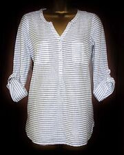 NEW FAT FACE BLOUSE WHITE BLUE Size 8-18 STRIPED MOLLIE  Shirt Tunic Top