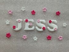 Edible fondant icing letters - cake topper + 12 blossoms white/pink