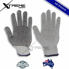 Cotton Gloves Poly Gripper Dots Work Gloves Warehouse Hand Protection 12 Pairs