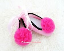 Infant Baby Toddler Girl Light Pink Ribbon Soft Crib Shoes Hot Pink Roses 0-18M