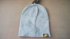 New Nike Cuffed Knit Beanie Hat Grey adult unisex 688787 012