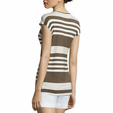 Liz Claiborne Striped Tee Size M New Olive Multi Msrp $36.00