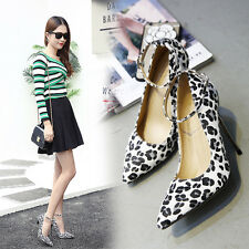 Womens Ankle Strappy High Heel Pointed Toe Leopard Shoes Sexy Party Pumps New