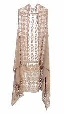 100% Silk Embroidered Asymmetric Long Drape See-Through Women's Vest - Champagne