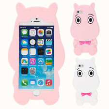 3D Cartoon Hippo Soft Silicone Case Cover Back Skin For iPhone SE 5S 6 6S 7 Plus