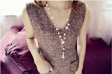 New Come Fashion Long Sweater Chain White Pearl Flower Tassel Pendant Necklace