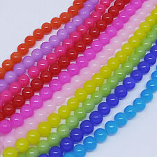 HOT 50/100Pcs Glass Jade Loose Spacer Round Beads Smooth Jewelry Bead 6/8mm