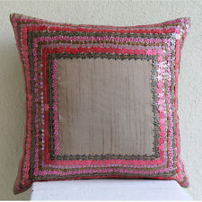Pretty Pink Flowers - Pink Art Silk 55x55 cm Cushion Covers