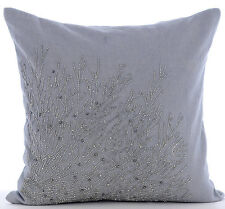 Beaded Garden Shrub Grey Cotton Linen 65x65 cm Euro Cushion - Silver Shrub
