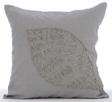 Beaded Leaf Grey Euro Sham, Cotton Linen 65x65 cm Euro Cases - Solitary Leaf