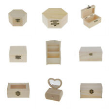 Wood Unfinished Box Jewelry Wooden Storage Box DIY Craft Woodworking Toys