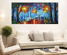 Couple Rain Walk Lovers Vintage Oil Painting Abstract Canvas