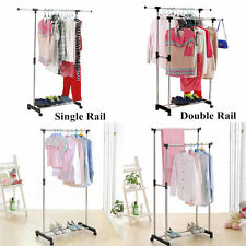 2017 Clothes Stand Rack Double Bar Adjustable Garment Hanger Clothing Display