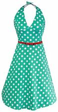 Whispering Ivy Marilyn Inspired Halter Style 1950s Vintage Party Polka Dress UK