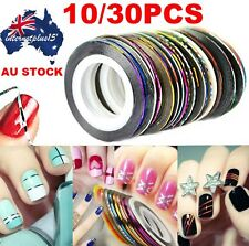 30 Pcs Mixed Colors Rolls Striping Tape Line Nail Art Tips Decoration Sticker SW