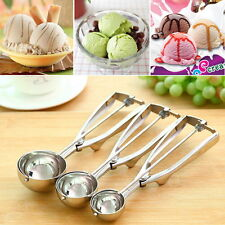 Ice Cream Spoon Stainless Steel Spring Handle Masher Cookie Scoop S4W