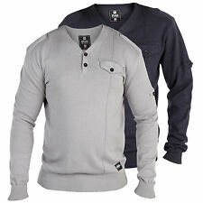 'Y' Neck Two Button Sweater With Pocket Detail Jumper Sweatshirt Mens Boys New