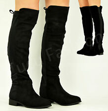New Womens Knee High Low Heel Ladies Chelsea Riding Winter Boots Shoes Size Uk