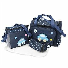 4Pcs Cute Embroidery Mummy Baby Nappy Changing Bags With Changing Mat Bottle Bag