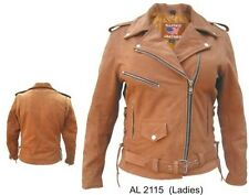 Ladies motorcycle Brown Buffalo Leather 3 front zippered 1 snap pocket jacket
