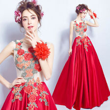 NEW Chinese Embroidery Red Flower Wedding Dress Bridal Gown XS/S/M/L/XL/XXL/XXXL