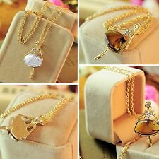 Women Sweater Long Chain Pendant Necklace Gold Plated Crystal Ballet Girl