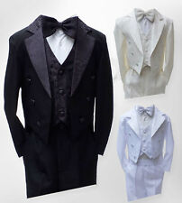 Boys Tuxedo Tail Suit 5 Piece Christening Page Boy Outfit - 3 Months to 6 Years
