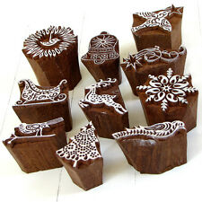 Stamping 2in handmade solid wood block ink stamp scrap paper craft India gifts