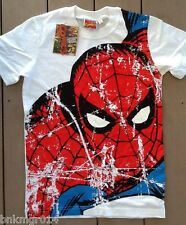 NWT Youth Marvel Comics Full Front Spiderman White T Shirt Size S