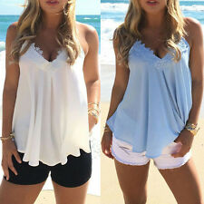 Summer Fashion Womens Sexy Sleeveless Chiffon Top Strappy Loose Blouse Vest Tank