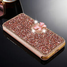 Luxury Bling Diamond Flip Stand Leather Case Wallet Cover For iPhone Samsung