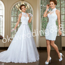 Custom Size Two in One High Neck Lace Bridal Gown Fashion Pretty Wedding Dress