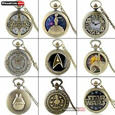 Antique Classical Mens Pocket Watch Vintage Quartz Bronze Necklace Chain Pendant