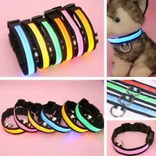 LED Light Flashing Pet Dog Safety Collar For Night Nylon Adjustable S M L