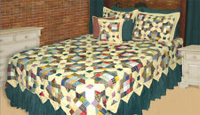 6-pc TREASURES IN ATTIC Hand Quilted Patchwork Quilt Set Full/Queen King Sizes