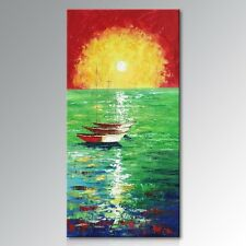 Framed Handmade Seascape Oil Painting on Canvas Abstract Boat Artwork Wall Art