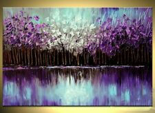 Handmade Framed Knife Oil Painting on Canvas Flowers Abstract Wall Art Purple
