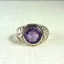 4.47CT Natural Purple Amethyst Rhodium White Gold Plated Sterling Silver Ring