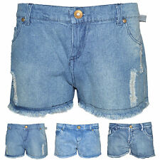 Womens Denim Hotpants Vintage Cut Off Girls High Waisted Jeans Shorts Size 8-14