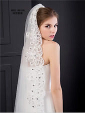 White Sequins Crystal Bridal Wedding Veil Cathedral Luxury Bling 3M 1T With Comb