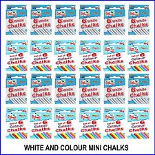 Colour White Mini Chalks 6 Per Pack Art Hobby Crafts School Party Bag Fillers