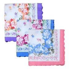 12X Womens Soft Cotton Blend Floral Printed Handkerchief Wendding Party Hanky