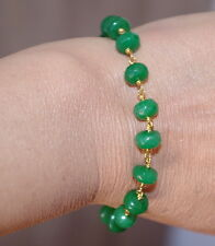 GORGEOUS 14K GOLD FILLED NATURAL 8MM EMERALD LINK BRACELET BRIDESMAID GIFT